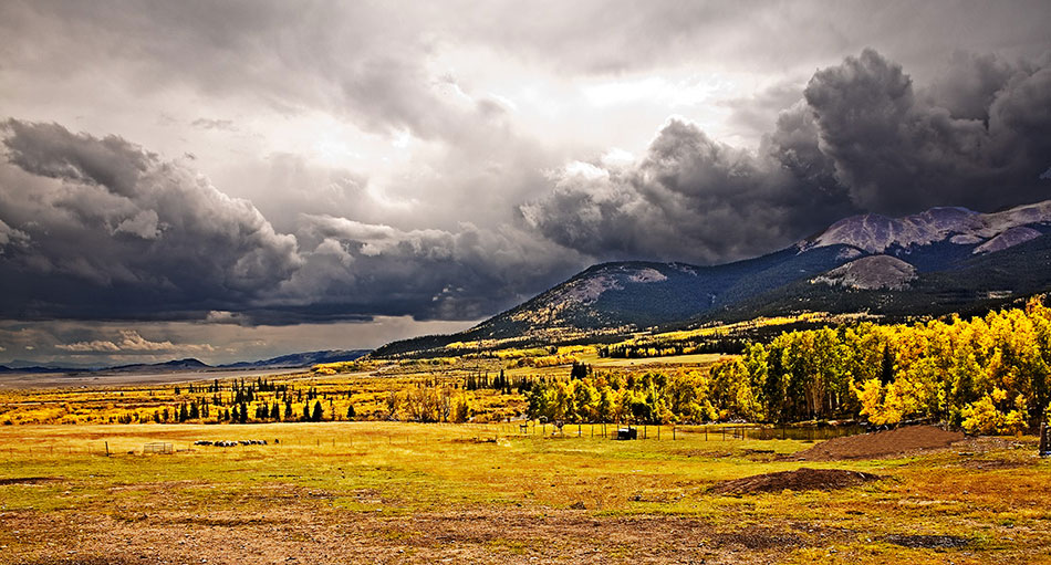 panoramic image of the South Park Area of Colorado with boiling gray clouds and blazing yellow plants in the field in the foreground
